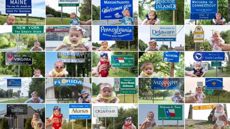 طفلة تزور جميع الولايات الأمريكية البالغ عددها 50 ولاية