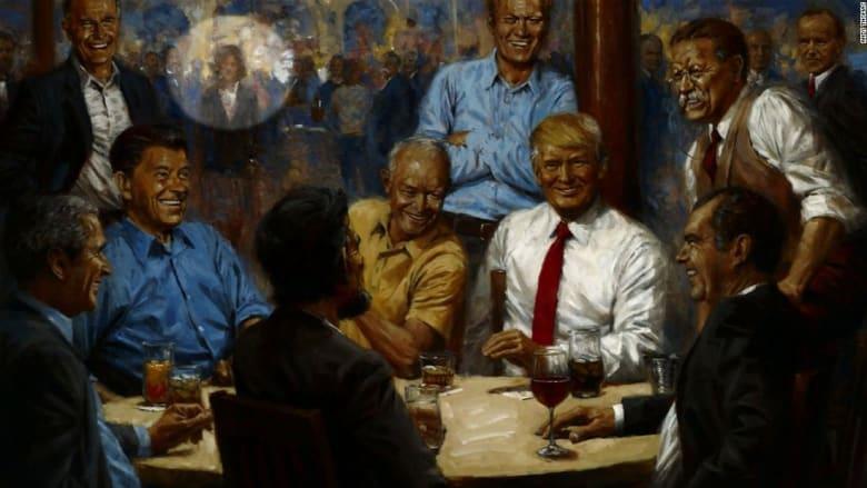 لماذا تقترب امرأة من طاولة الرؤساء في هذه اللوحة المعلقة بال