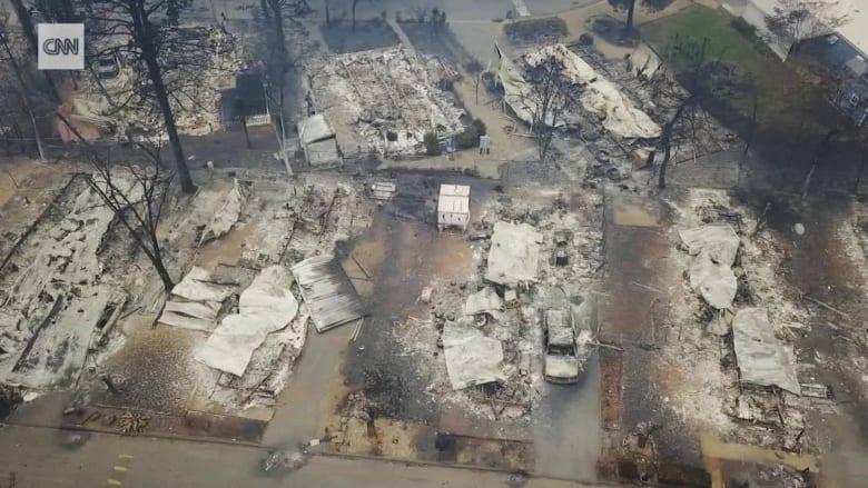 لقطات جوية تظهر مدى الدمار جراء حرائق الغابات في كاليفورنيا