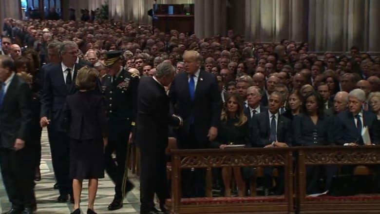 شاهد.. جنازة جورج بوش الأب في حضور رؤساء أمريكا
