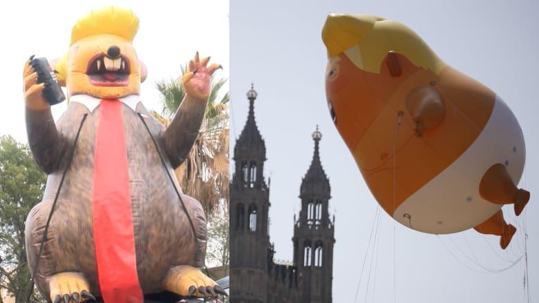 """من """"الطفل"""" إلى """"الفأر"""".. احتجاجات البالون تلاحق ترامب"""