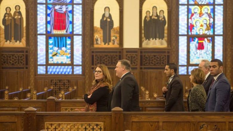 بومبيو في مسجد وكاتدرائية عاصمة مصر الإدارية.. ومتحدث الكنيسة لـCNN: أشاد بالتسامح
