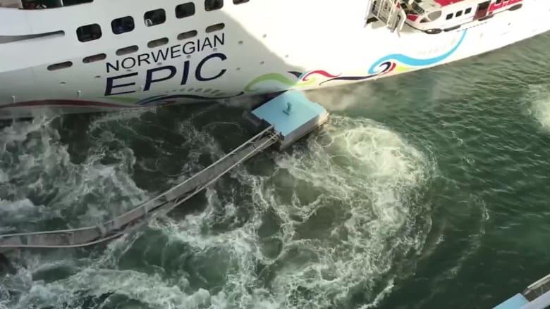 سفينة سياحية عملاقة تصدم رصيفا للركاب وتُغرق جزءا منه