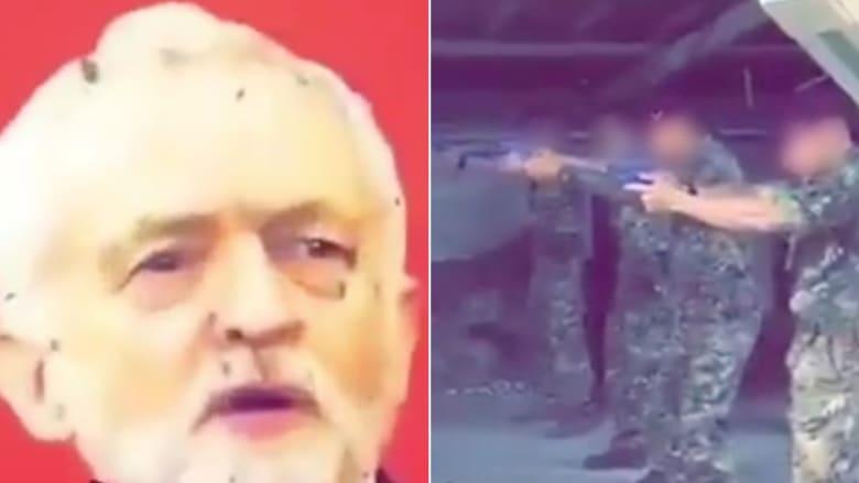 """لندن تحقق بفيديو لإطلاق """"جنود"""" النار على ملصق لزعيم المعارضة"""