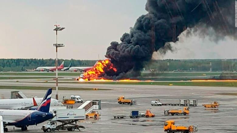 مشهد مروع.. مقتل 41 شخصاً بعد التهام حريق لطائرة روسية