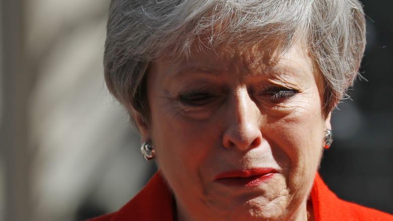 "شاهد.. ""غصة"" تيريزا ماي بخطاب استقالتها"
