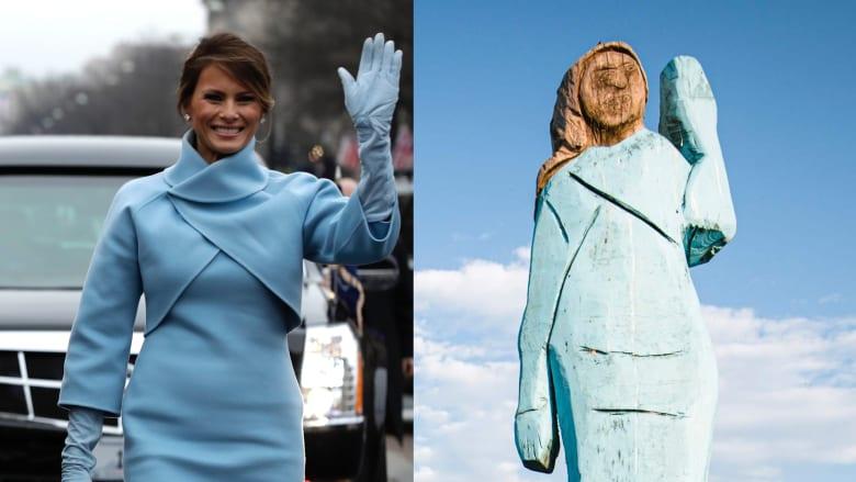 كشف النقاب عن تمثال ميلانيا ترامب الخشبي بمسقط رأسها