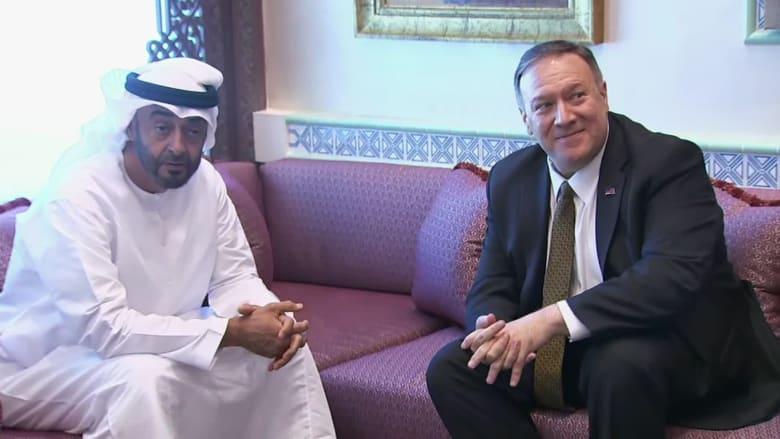 محمد بن زايد أثناء لقاء مع مايك بومبيو