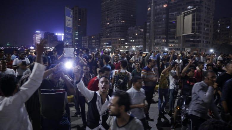 مظاهرات قرب ميدان التحرير ضد رئيس مصر عبدالفتاح السيسي