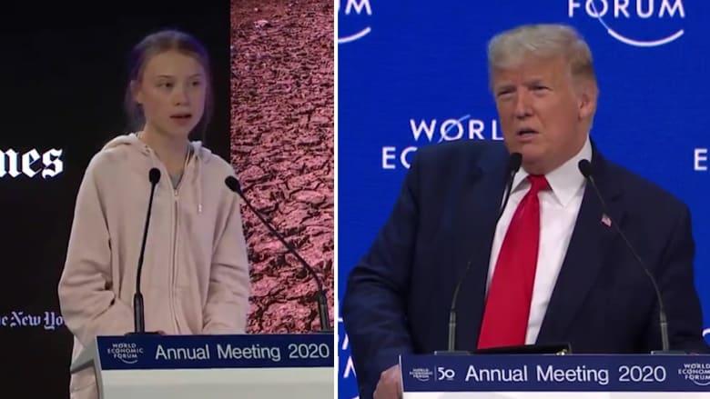 شاهد رد غريتا تونبرغ على ترامب حول موضوع تغير المناخ بدافوس