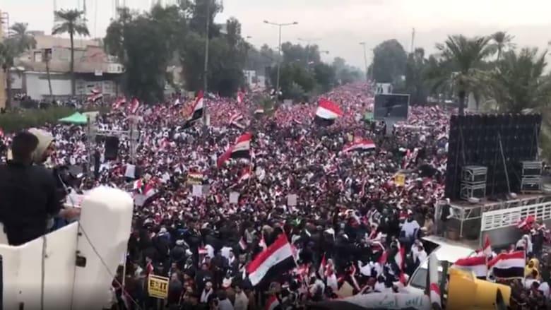 شاهد.. مئات الآلاف يتظاهرون ضد وجود قوات أمريكا بالعراق