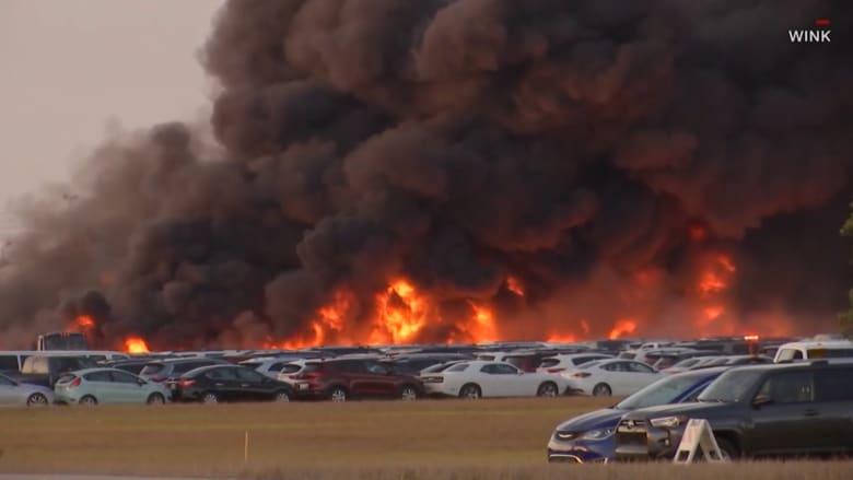 حريق بالقرب من مطار فلوريدا يدمر أكثر من 3500 سيارة