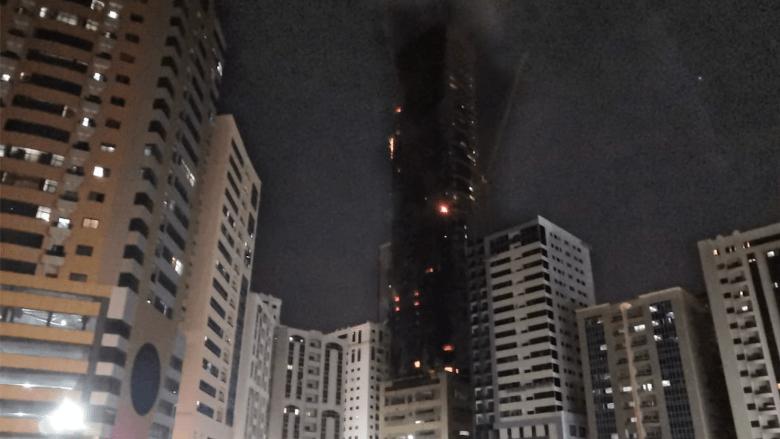 حكومة الشارقة تكشف عدد الإصابات الناجمة عن حريق ضخم بأحد أبراج الإمارة