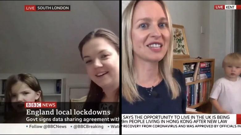 طفلان يعطلان بثّين مباشرين على بي بي سي وسكاي نيوز