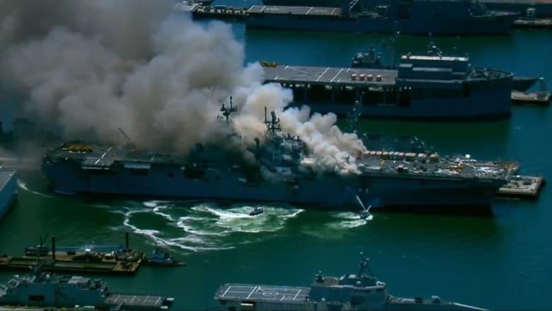 حريق السفينة الحربية الأمريكية يتسبب في إصابة 18 بحارًا على الأقل