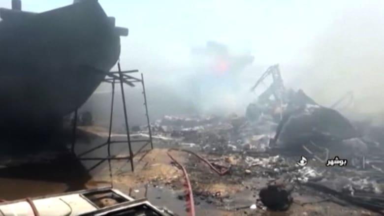 مشاهد الدمار في حريق 7 سفن إيرانية في ميناء بوشهر جنوبي البلاد