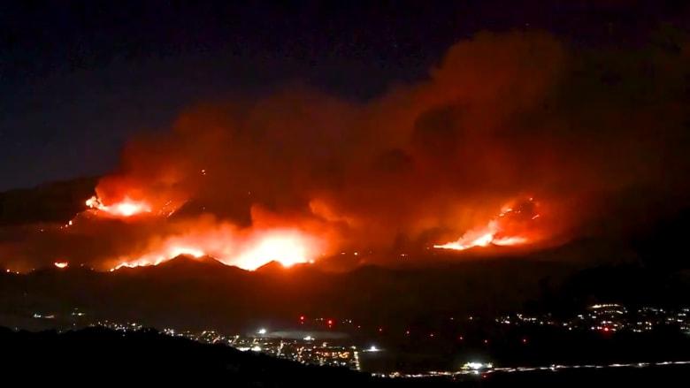 فيديو بتقنية الفاصل الزمني يظهر جزءا صغيرا من حريق Apple Fire في كاليفورنيا