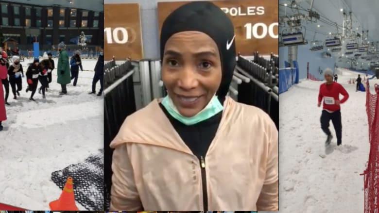 """بالحجاب من دبي.. """"قريبة"""" أوباما تحيي أصدقائها بعد سباق الجري الثلجي"""