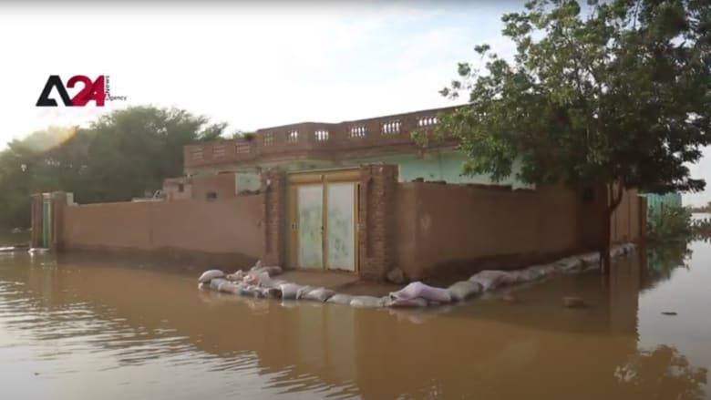 شاهد الدمار الواسع الذي خلفته الفيضانات في الخرطوم
