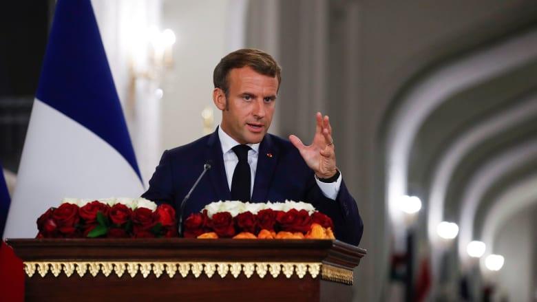 صورة تعبيرية للرئيس الفرنسي من مؤتمر صحفي أدلى به خلال زيارة إلى العراق
