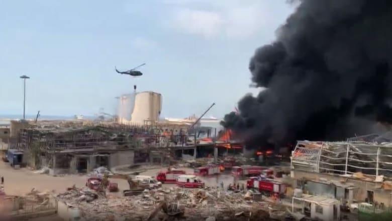 شاهد.. اللحظات الأولى بعد اندلاع حريق جديد في مرفأ بيروت