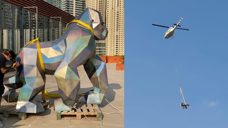 نقل تمثالي غوريلا ونمر بالمروحية في دبي