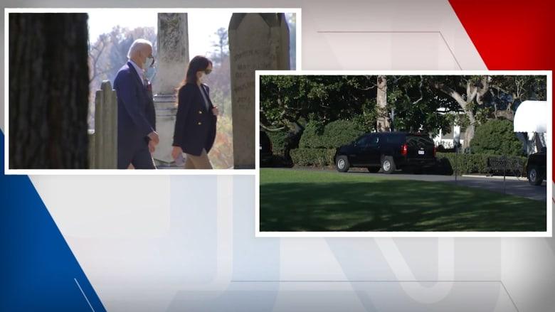 شاهد ترامب يعود للعب الغولف مجددا.. وبايدن يتجه إلى الكنيسة