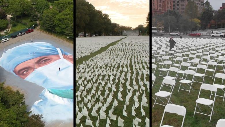نصب تذكارية عملاقة رسمت بالكراسي والأعلام لـ300 ألف أمريكي فقدوا أرواحهم بسبب كورونا