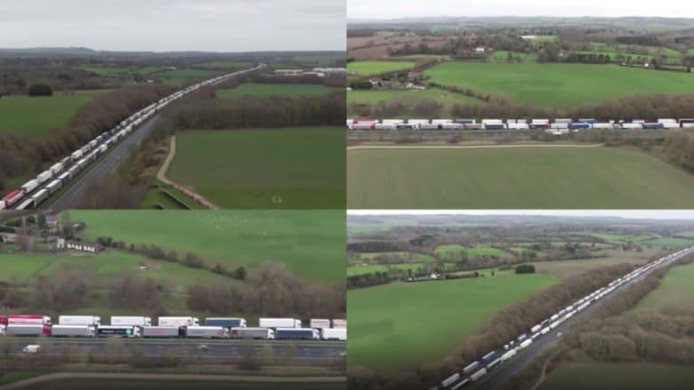 شاهد من الجو.. طوابير شاحنات عالقة على الحدود البريطانية الفرنسية