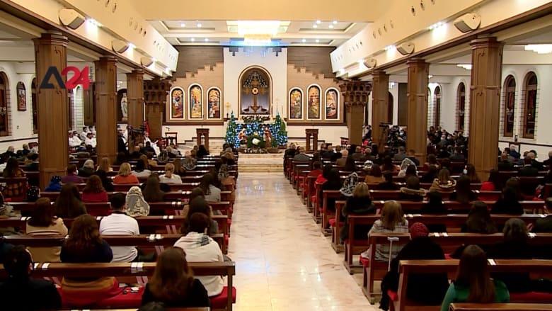 """شاهد.. مسيحيو العراق يحيون احتفالات الميلاد في كنيسة """"مار يوسف"""" بإربيل"""