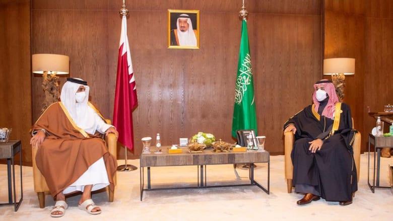 ولس عهد السعودية في استقبال أمير قطر