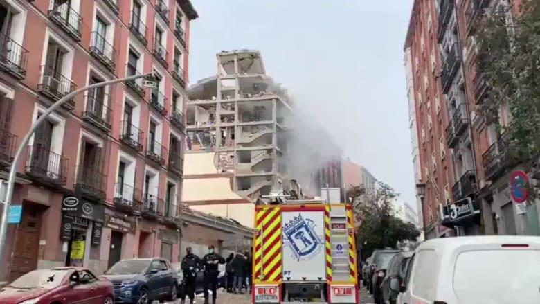 آثار الانفجار الكبير الذي هز وسط العاصمة الاسبانية مدريد