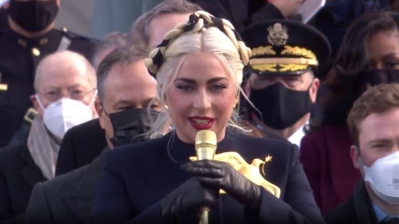 شاهد.. ليدي غاغا تغني النشيد الوطني الأمريكي خلال تنصيب بايدن