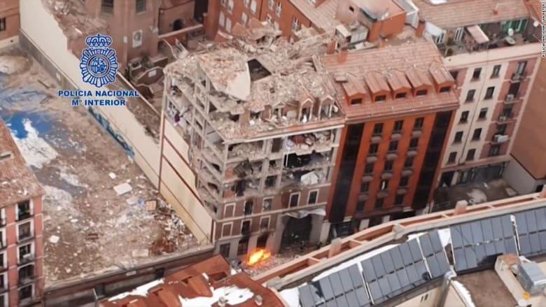 شاهد.. لقطات جوية تُظهر حجم الدمار الهائل جراء انفجار مدريد