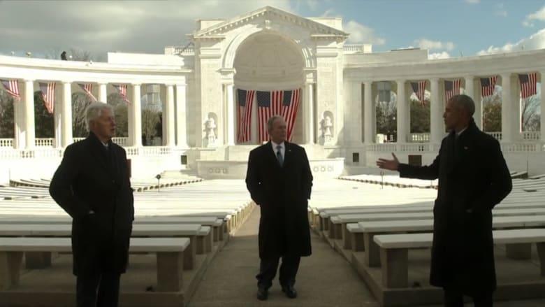 شاهد لحظة اجتماع بوش وأوباما وكلينتون لتكريم تنصيب بايدن.. هذه رسالتهم