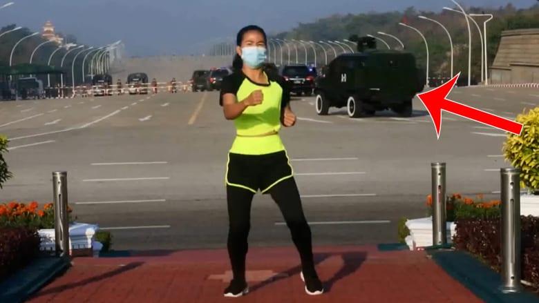 مشهد لا يصدق.. مدربة رياضية ترقص وجيش ميانمار يستولي على السلطة في الخلفية