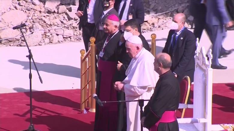 شاهد لحظة وصول البابا فرنسيس إلى الموصل في العراق