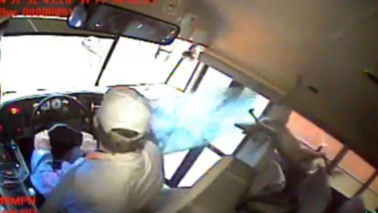 سقط فجأة على طالب نائم.. كاميرا مراقبة ترصد لحظة اصطدام غزال بحافلة مدرسية