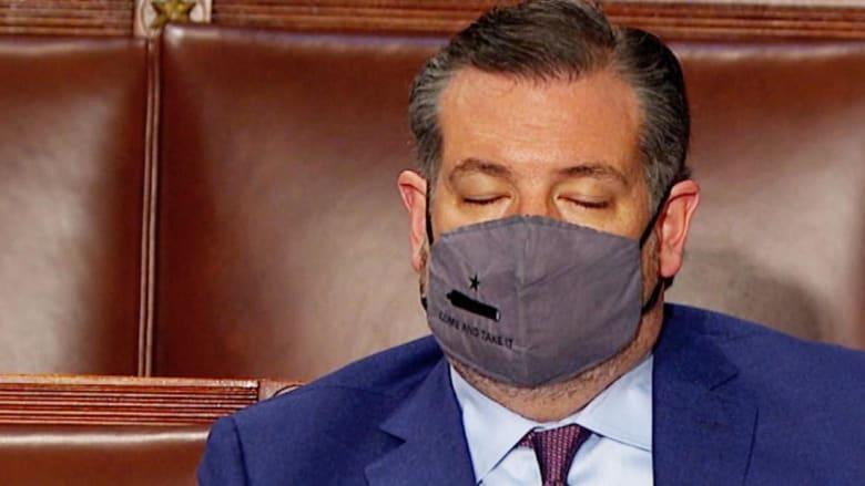 كاميرا ترصد لحظة نوم تيد كروز وميت رومني خلال خطاب جو بايدن أمام الكونغرس