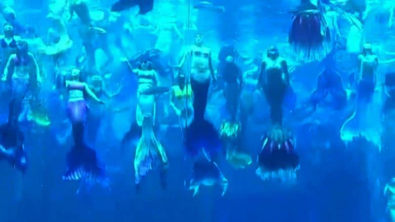 شاهد 100 حورية بحر في أداء حقق أكبر رقم قياسي لعرض تحت الماء