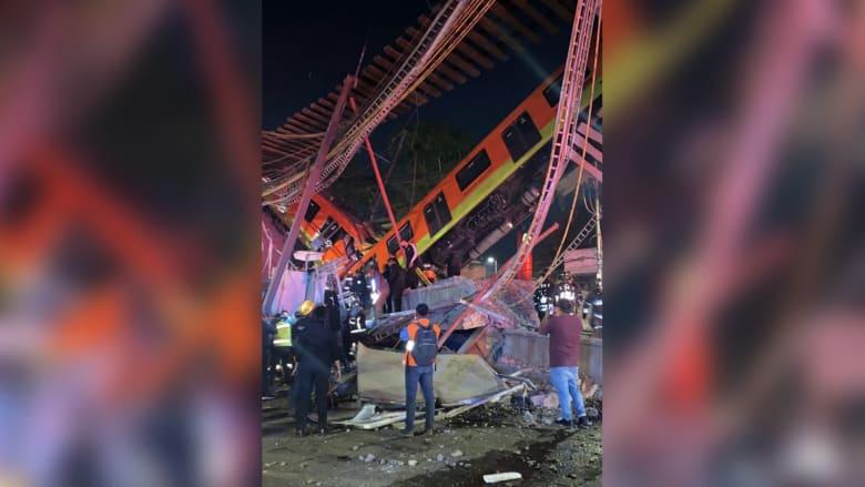 شاهد لحظة انهيار جزء من جسر مترو.. وسقوطه على طريق مزدحم في المكسيك
