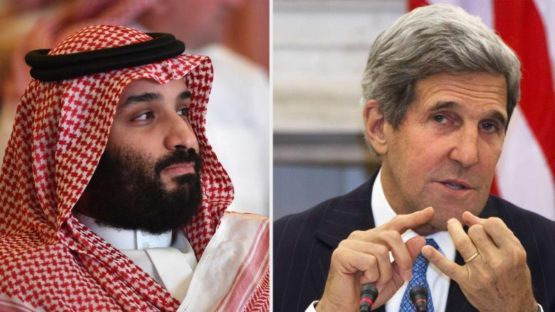 المبعوث الأمريكي للمناخ جون كيري (يمين) وولي العهد السعودي (يسار)