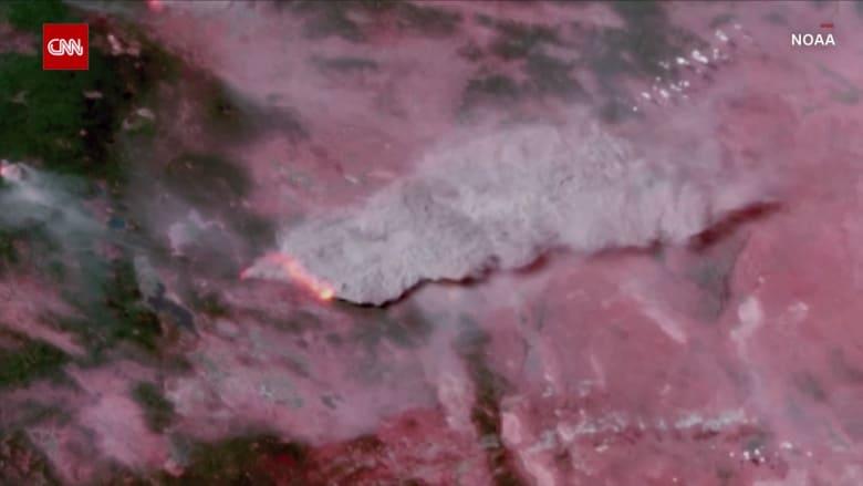 شاهد.. كاميرا من الفضاء ترصد حرائق غابات هائلة في أمريكا