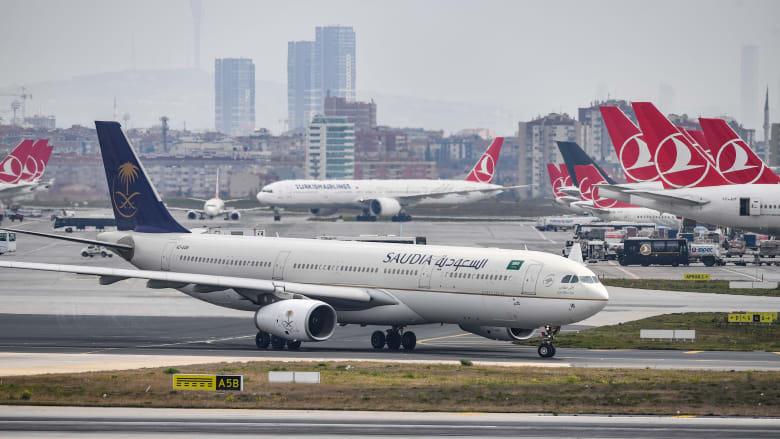 صورة أرشيفية لطائرة تابعة للخطوط الجوية السعودية في مطار إسطنبول 2019