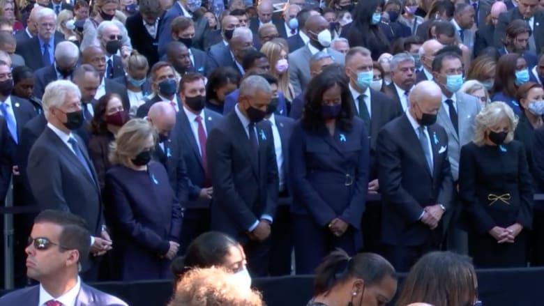 شاهد حضور بايدن وأوباما وكلينتون مراسم إحياء الذكرى العشرين لهجمات 11 سبتمبر.. وإلتزامهم دقيقة الصمت