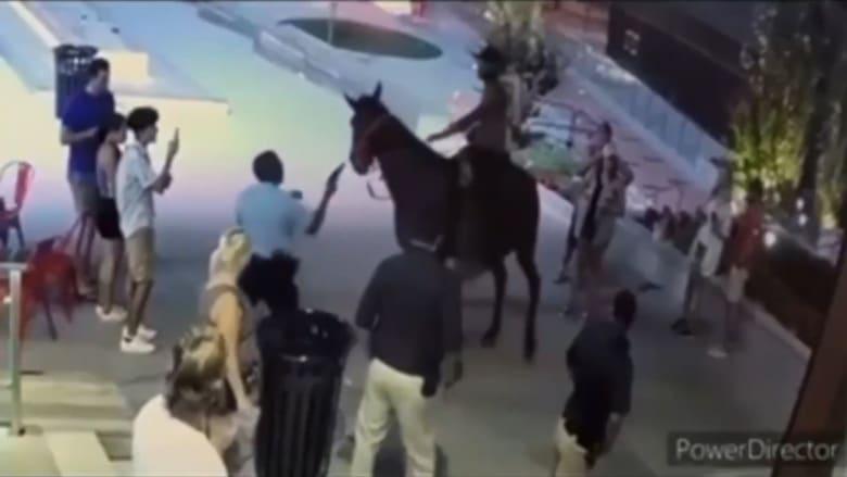 مواجهة غريبة بين شرطي أمريكي ورجل يرفض الترجل عن حصان.. شاهد ما حدث