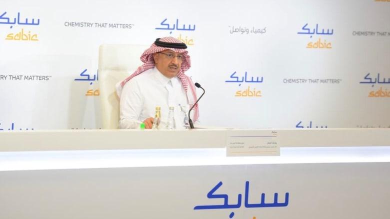 رئيس سابك التنفيذي يوسف البنيان في المؤتمر الصحفي في مقر الشركة
