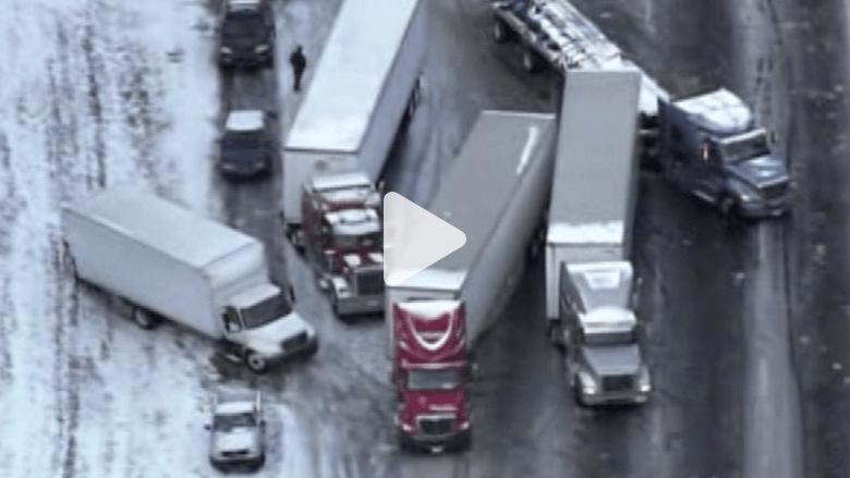 أمريكا.. كوارث مرورية بسبب الثلوج
