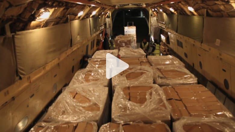 عملية شحن 380 طنا من المواد الغذائية إلى سوريا
