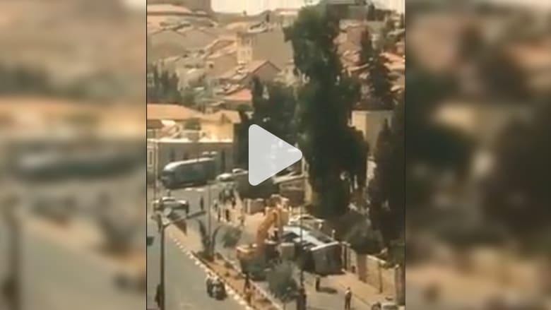 قتيلان في هجوم بجرافة على حافلة بالقدس